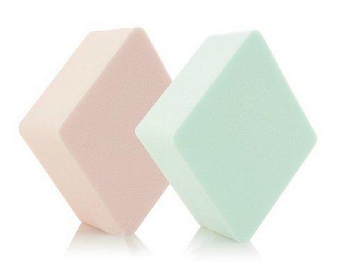 Ensemble de 2 éponge de maquillage / doux puff éponge, diamants(vert et rose)