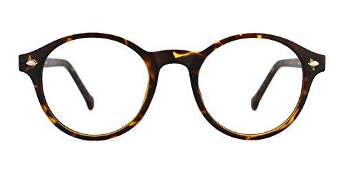 TIJN Klassische Runde Nerdbrille Optik Computerbrille Blaulichtfilter Brille Ohne Stärke Brillenfassung für Damen Herren