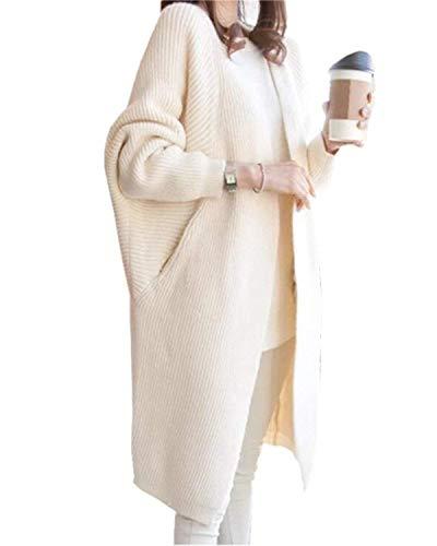 Strickmantel Damen Herbst Hochwertig Lang Stricktop Unifarben Winter Langarm Fledermausärmel Schöne Seitentaschen Locker Outerwear Young Fashion Wollpullover (Color : Beige, Size : One Size)