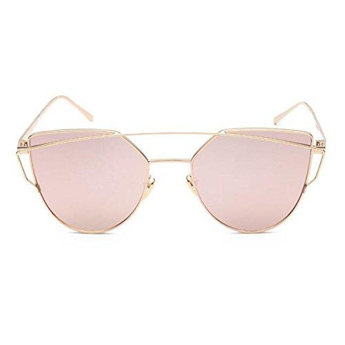 L&K-II Classische Sonnenbrille Damen Metall Rahmen verspiegelte Linse Brille 5101-03