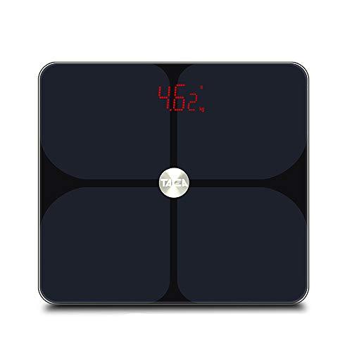 BMG Bluetooth Körperfettwaage, Smart Electronic LED Digital Gewicht ITO Beschichtete Gehärtetes Glas 17 Körper Daten Tests Badezimmer Elektronische Waage,Schwarz
