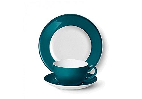 SONDERAKTION Dibbern Solid Color - Kaffeetasse 0,25 l m.U. + Teller flach 21 cm - petrol - NEU