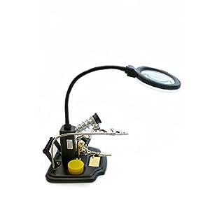 edi-tronic LED Tischlupenleuchte Lupe mit Zubehör Dritte Hand Metallschwamm Kolophonium Set Metallschwamm Lötkolbenhalterung Schwanenhals Zubehör