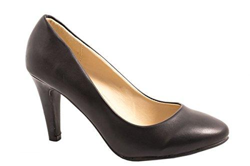 dames Elara pompes | talons aiguilles souples confortables | aspect cuir Noir