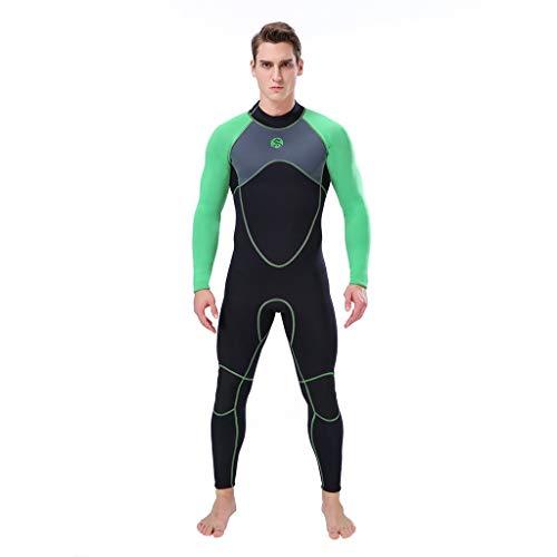 LOPILY Herren Sommer Surfbekleidung Wakeboarding Wetsuit 3MM Ganzkörperanzug Wassersport Anzug Neoprenanzug Schwimmanzug Surfanzug Schnelltrocknend Sonnencreme(Grün,XL)