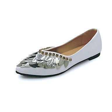Rtry Femme Chapeaux Chaussures Formelles Pu Automne Vêtements Décontractés Marche Chaussures Formelles Sequin Plat Talons Blanc Noir Ci-dessous 1in Us5.5 / Eu36 / Uk3.5 / Cn35