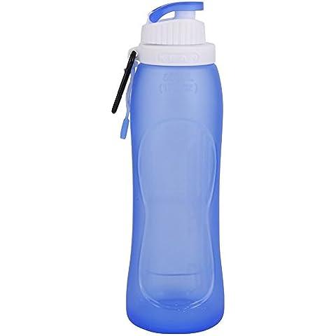 Wonderfully Acqua Bottiglia Pieghevole Silicone 500ml portable di protezione dell'ambiente Sport che piega a prova di perdite (blu) - Policarbonato Bottiglia Di Acqua