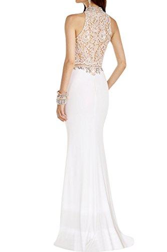ivyd ressing robe mousseline de haute qualité col montant et pointe de ligne Étui Party Prom robe robe du soir Blanc - blanc