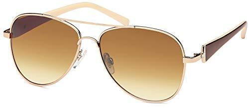 Balinco Damen Pilotenbrille Sonnenbrille mit Stresssteinen & lackierten Bügeln 70er Jahre Sunglasses Fliegerbrille (Dark Brown/Brown)