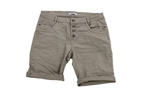 STS 15 Farben Damen Jeans Bermuda Short by Boyfriend Look tiefer Schritt Jeansbermuda mit Kontrastnähten Washed Kurze Hose (XS, Dark Beige)
