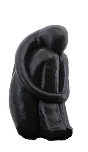 Tiefes Kunsthandwerk Steinfigur Single in Schwarz, abstrakte Deko-Figur für Haus und Garten, moderne Statue als Garten-figur