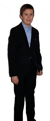 Helgas Modewelt Kommunionanzug, Blazer Anzug zur Kommunion, Jungenanzug, Schwarz, Gr. Slim 128