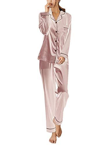 ORANDESIGNE Damen Pyjamas Sets Frühling Herbst Klassische Schlafanzug Satin V-Ausschnitt Zweiteiliges Nachtwäsche Nachthemd Lang Elegant Licht Langarm Shirt und Hosen A Rosa DE 36 -