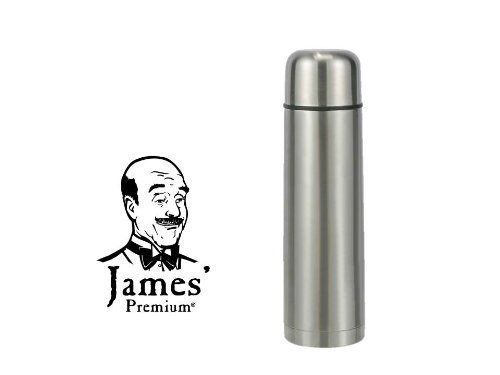 Isolierflasche, 1,0 L Edelstahl mit Klickverschluss Thermoskanne Isolierkanne Thermosflasche Isolierflasche von James Premium®