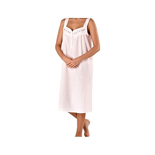 Polyester/coton sans manches pour femme Nuisette et de nuit ros'ou bleu 10/12/14/16/18/20/22/24/26/28/30/32/34/36/38/40 Rose - Rose