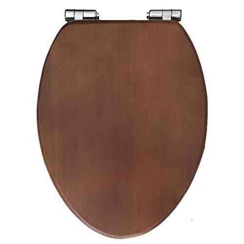 YYUE Toilettenbrille,Toilettenabdeckung Langsam Schließender Hochleistungs-Toilettensitz Einfache Installation Und Reinigung Von Massivholz,Walnut Color-V