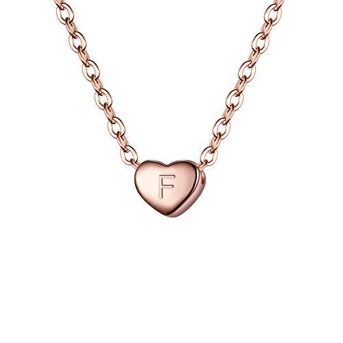 r Halskette 925 Sterling Silber mit Buchstabe A-Z kleine Initial Herz Anhänger Kette Halsband Buchstabe F 14K Rose-Gold-Ton ()