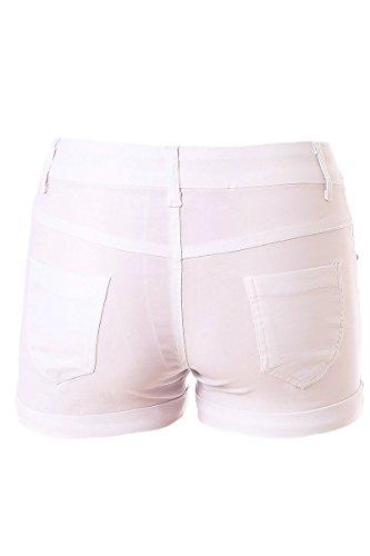 STF Hotpants Shorts Stoffhose Kurz Schmale Umschläge Klassik Design Weiß