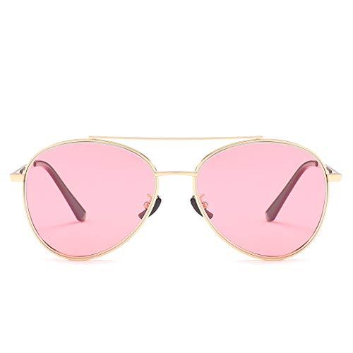FORTINGBAR Sonnenbrille for Herren und Damen Klassische Retro-Sonnenbrille mit verspiegelten UV400-Gläsern NEU (Farbe : Gold Frame/Pink Lens)