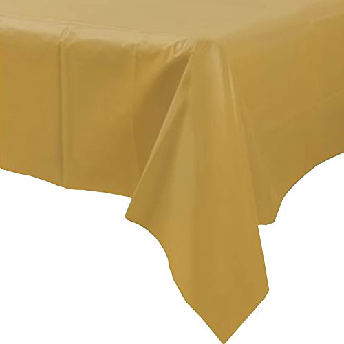 Plastic Disposable Party Tablecloth (Gold) by party tableware