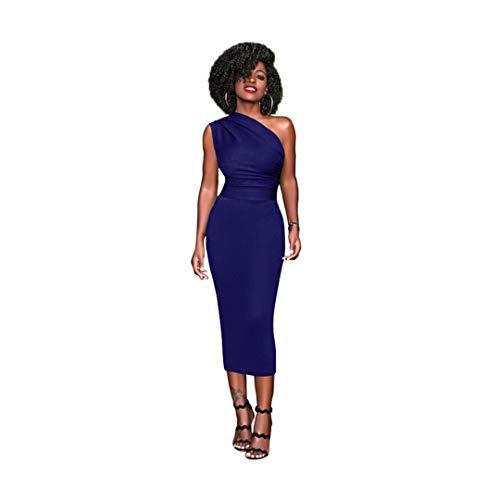 SWESEYDRE Bodycon Dress Pencil Plus Size One Shoulder High Waist Office Work Wear Dresses Blue XXL -