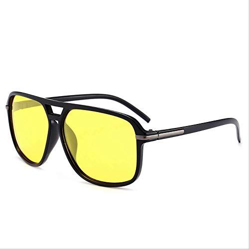 MJDL Sonnenbrille Männer Polarisierte Übergroße Spiegel Fahren Sonnenbrille Mann Markendesigner Retro Fahrer Sonnenbrille Brille Gelb