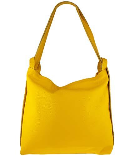 Freyday 2in1 Damen Handtasche Rucksack Designer Luxus Henkeltasche aus 100% Echtleder (Senfgelb)