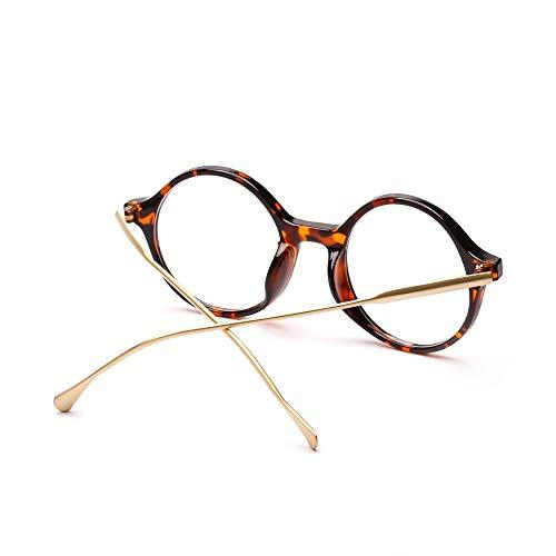 WULE-RYP Polarisierte Sonnenbrille mit UV-Schutz Runde Retro Brillengläser, dekorative Gläser für Frauen und Männer. Superleichtes Rahmen-Fischen, das Golf fährt (Farbe : Leopard)