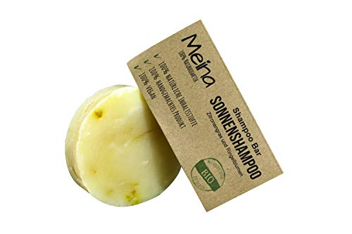 Meina - Shampoo Bar - Haarseife mit Zitronengras und Ringelblumen (1 x 85 gr) vegan fest Shampoo, bio Shampooseife für Männer und Frauen ohne Silikone, Sulfate und Parabene - Naturkosmetik