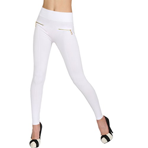 Damen Leggings Zipper Reißverschluss Hoher Bund Treggings Sommer Leggins Hose Röhre 99739 Weiß 99738