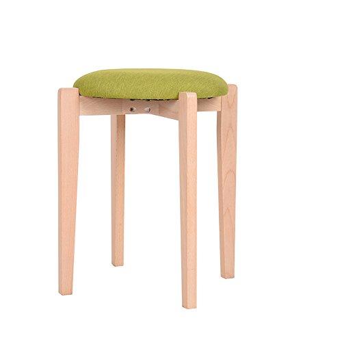 FEI Confortable Tabouret en bois massif Tabouret carré Tabouret en tissu Tabouret Tabouret en cuir Solide et durable (Couleur : Vert)