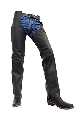 Unbekannt Chaps - Herren Lederhose/Chaps aus echtem Büffel Leder in schwarz (Schwarz, 2XL)