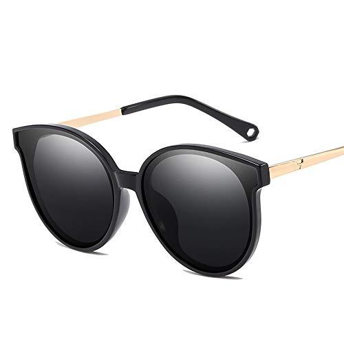 Metallrahmen-Art- und Weiseklassiker-Weinlese-Art-Katzenauge-runder Spiegel UV400 Objektiv-Unisex polarisierte Sonnenbrille Sonnenbrillen und flacher Spiegel ( Color : Schwarz , Size : Kostenlos )