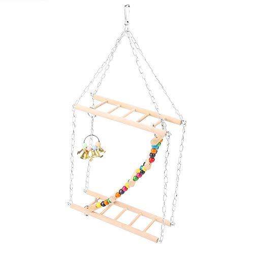 Heepdd pet hanging scalette sospensione in legno ponte scale arrampicata altalena doppio strato giocattoli per uccelli piccoli parrot parrocchetto cockatiel gabbia criceti accessori decorativi