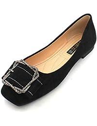 Zapatos Planos para Mujer, Mocasines Casuales de Ante con Punta Cuadrada y sin Cordones,
