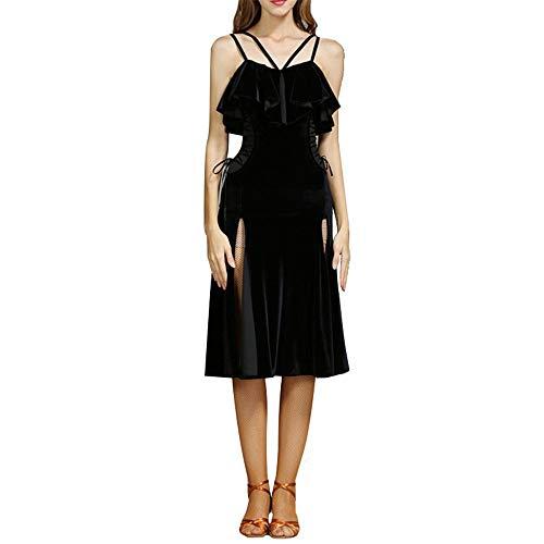 Yuqianqian Damen Latein Dance Kleid Frauen Fransen Quasten Ballsaal Samba Tango Latin Dance Dress Wettbewerb Kostüme Themen Party Swing Dress (Farbe : Schwarz, Größe : XXL) (Tanz Wettbewerbs Kostüm Lyrischen)
