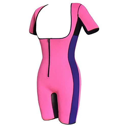 Ning Damen Figurformend Bodysuit Sauna Schweiß Anzüge Taillentrainer Gewichtsverlust Neoprenweste Bodysuit mit Hülse,Pink,XXXL -