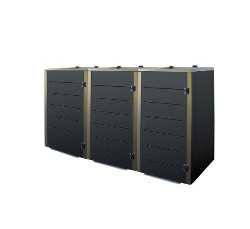 Mülltonnenbox Edelstahl, Modell Eleganza Line 120 Liter als Dreierbox in RAL 7016 Anthrazitgrau