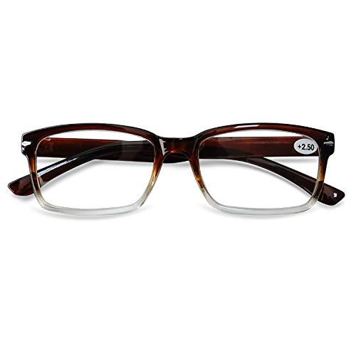 KOOSUFA Lesebrille Herren Damen Leicht Retro Lesehilfen Sehhilfe Qualität Rechteckige Vollrandbrille Arbeitsplatzbrille Anti Müdigkeit Brille 1,0 1,5 2,0 2,5 3,0 3,5 4,0 (Braun, 3.0)