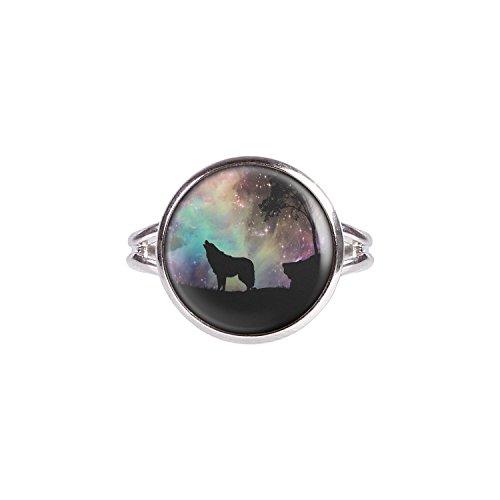 Mylery Ring mit Motiv Wolf Weltraum Sterne Baum silber 14mm