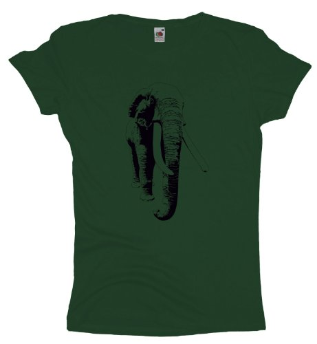 Ma2ca - Elephant - Damen Girlie T-Shirt Bottle Green