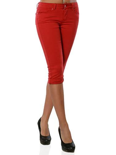Daleus Damen High-Waist Capri Jeans Kurze Sommerhose DA 15990 Farbe Rot Größe XL / 42 Stretch-capri-jeans