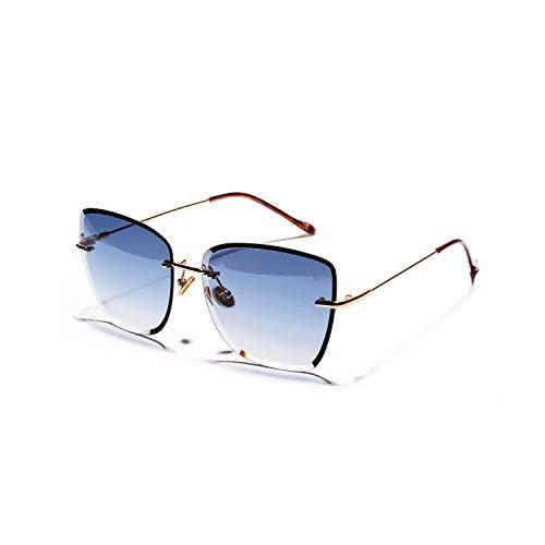 HDJC Randlose Sonnenbrille Frauen Metall Retro Ocean Clear Color Brille Einzigartige Kratzlinsenbeschichtung für mehr Haltbarkeit,Blue