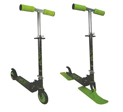 Dynamic24 2in1 Scooter Roller 120 mm Rollen Tretroller Cityroller ABEC 5 Carbon Kugellager + Schlitten Kufen Kickscooter Kinderroller