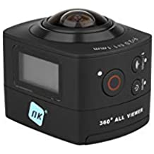 NK AC3078-360 - Cámara de acción 360º, 8 MP con gran angular, Carcasa WaterProof incluida, WiFi, Full HD 1080p, LCD 2in, color negro (Reacondicionado)
