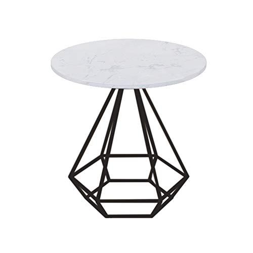 Tables FEI - Bureau d'ordinateur Ronde de Chevet en marbre de Chevet en Fer forgé pour Tous Les postes de Travail (Couleur : Noir, Taille : 50 * 50cm)