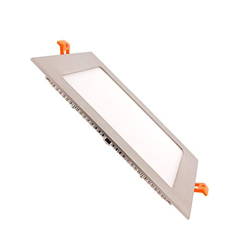 Placa LED Cuadrada SuperSlim 15W Marco Plata Downlight LED Blanco Neutro 4000K-4500K efectoLED