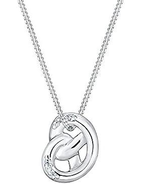Elli Damen-Kette mit Anhänger Brezel Wiesnschmuck 925 Silber Kristall weiß Rundschliff