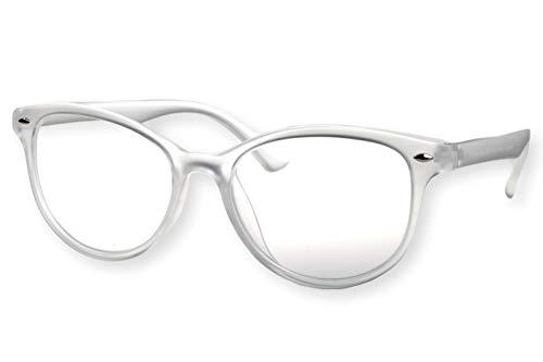 Lesebrille Damen weiß Eisweiß transparenter Rahmen sehr leicht runde ovale Form durchsichtiges Gestell schmale Bügel Lesehilfe Sehhilfe 1.0 1.5 2.0 2.5 3.0 3.5, Dioptrien:Dioptrien 1.5