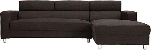 FabHomeDecor Mini FHD170 Five Seater L-Shaped Sofa (Brown)